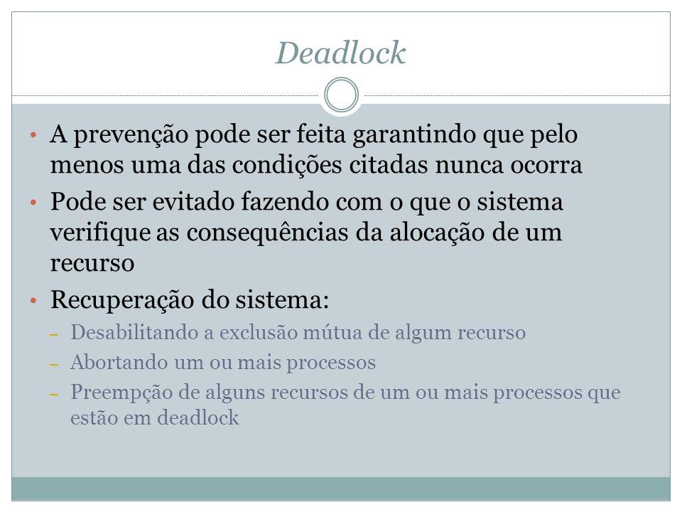 Deadlock A prevenção pode ser feita garantindo que pelo menos uma das condições citadas nunca ocorra.