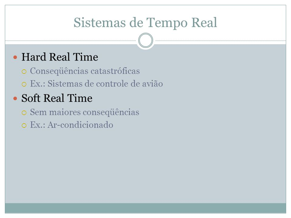Sistemas de Tempo Real Hard Real Time Soft Real Time