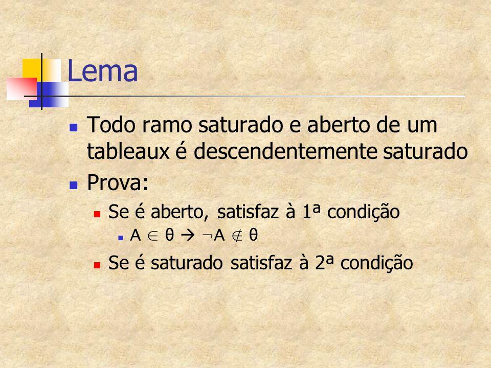 Lema Todo ramo saturado e aberto de um tableaux é descendentemente saturado. Prova: Se é aberto, satisfaz à 1ª condição.