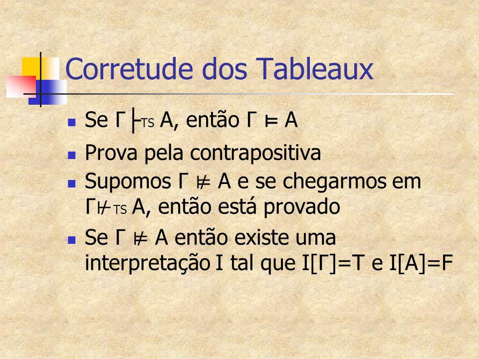 Corretude dos Tableaux