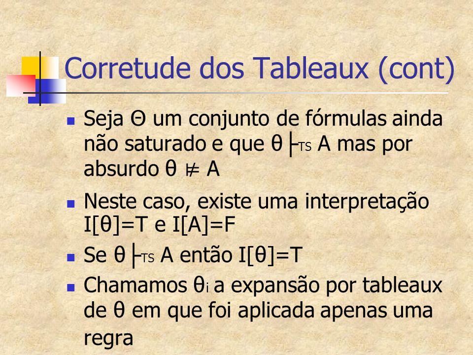 Corretude dos Tableaux (cont)