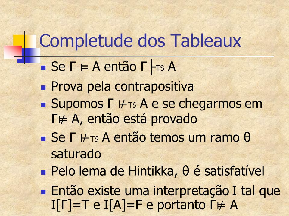 Completude dos Tableaux