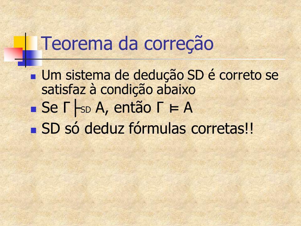 Teorema da correção Se Γ├SD A, então Γ ⊨ A