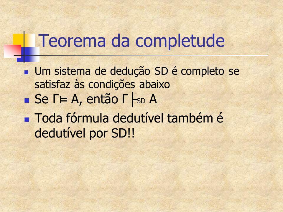 Teorema da completude Se Γ⊨ A, então Γ├SD A