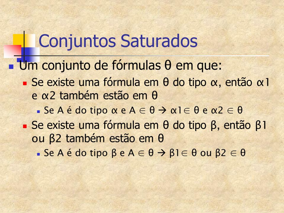 Conjuntos Saturados Um conjunto de fórmulas θ em que: