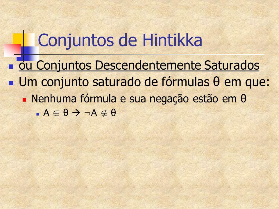 Conjuntos de Hintikka ou Conjuntos Descendentemente Saturados