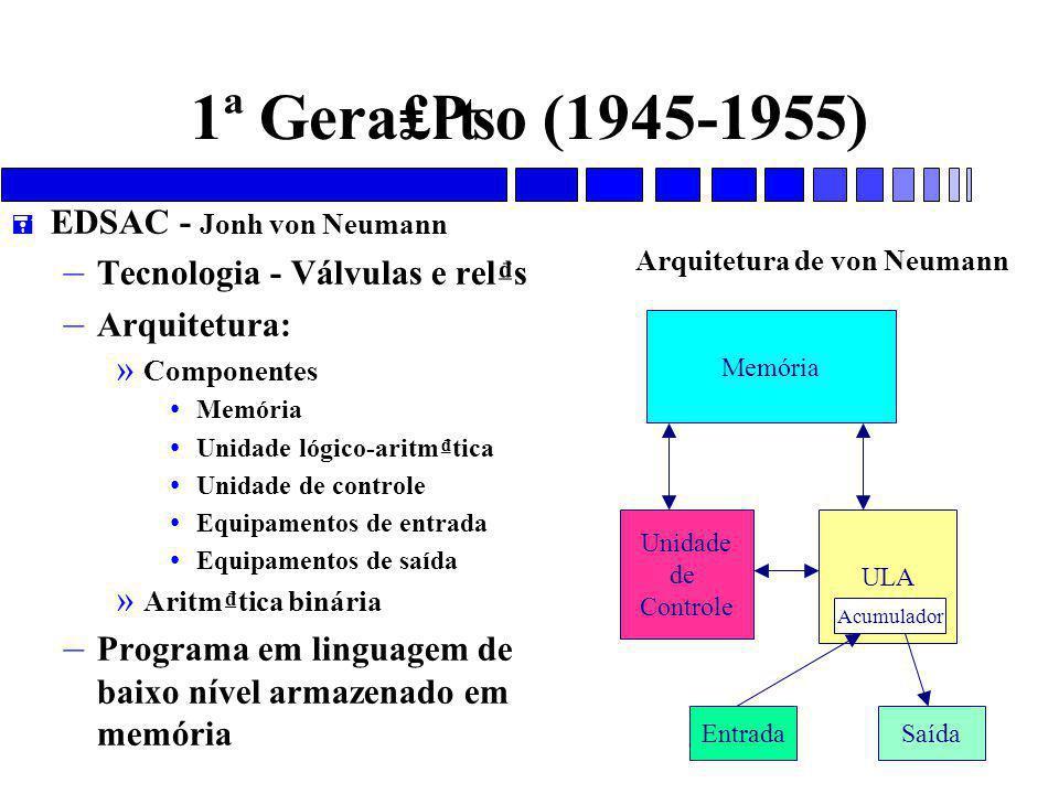 1ª Gera₤₧o (1945-1955) EDSAC - Jonh von Neumann