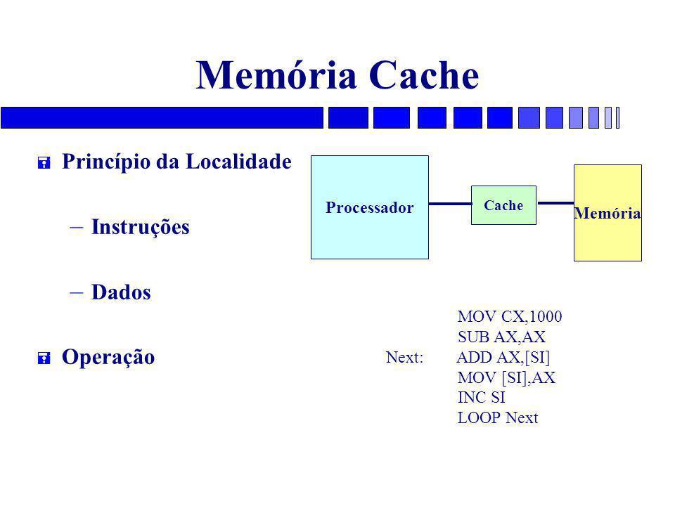 Memória Cache Princípio da Localidade Instruções Dados Operação