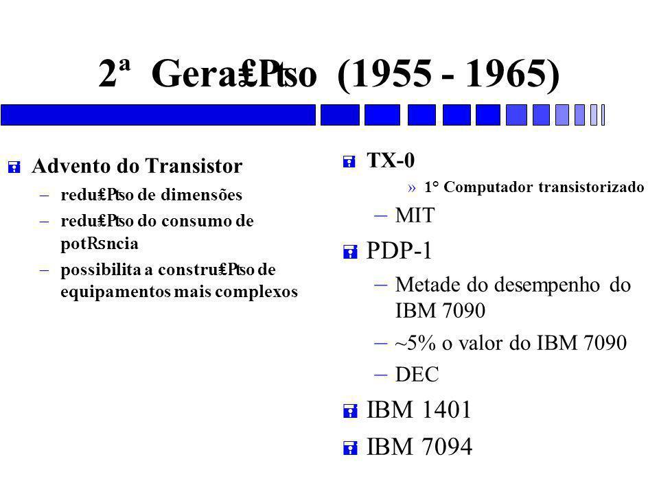 2ª Gera₤₧o (1955 - 1965) PDP-1 IBM 1401 IBM 7094 TX-0