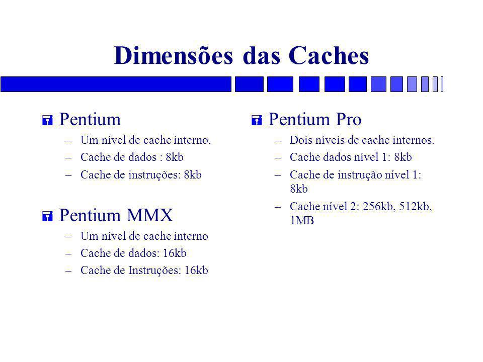Dimensões das Caches Pentium Pentium MMX Pentium Pro