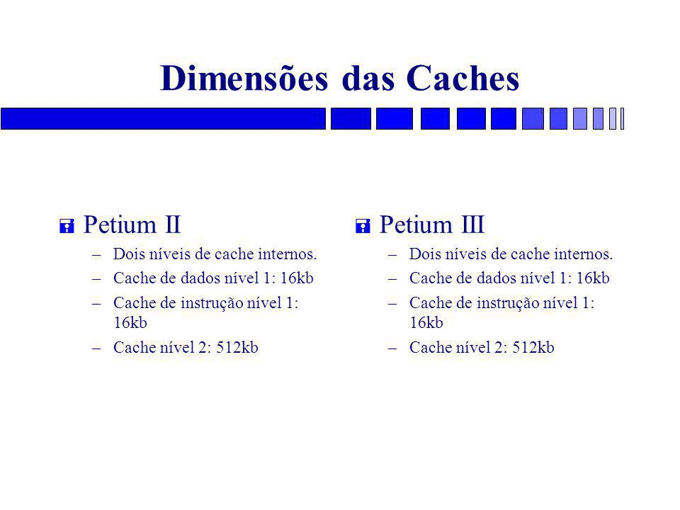 Dimensões das Caches Petium II Petium III