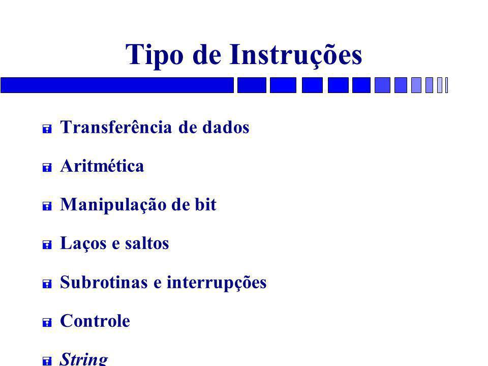 Tipo de Instruções Transferência de dados Aritmética