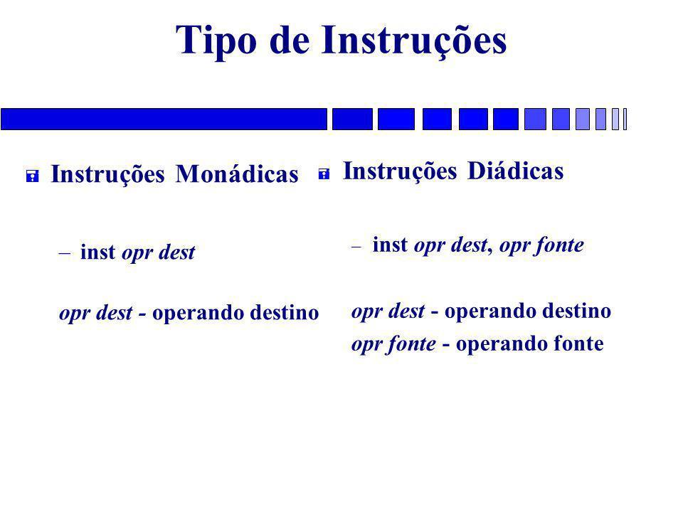 Tipo de Instruções Instruções Diádicas Instruções Monádicas