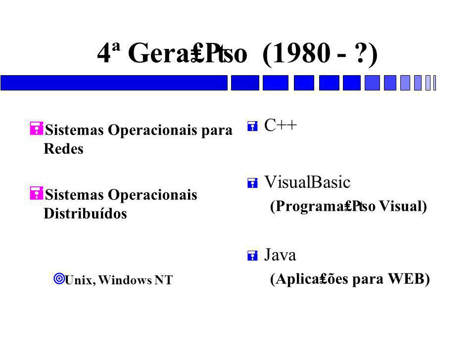 4ª Gera₤₧o (1980 - ) C++ VisualBasic Java