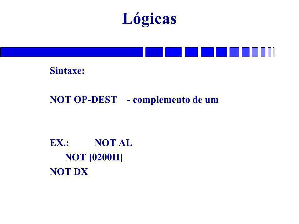 Lógicas Sintaxe: NOT OP-DEST - complemento de um EX.: NOT AL