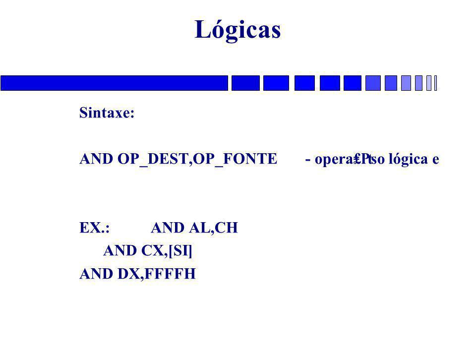 Lógicas Sintaxe: AND OP_DEST,OP_FONTE - opera₤₧o lógica e