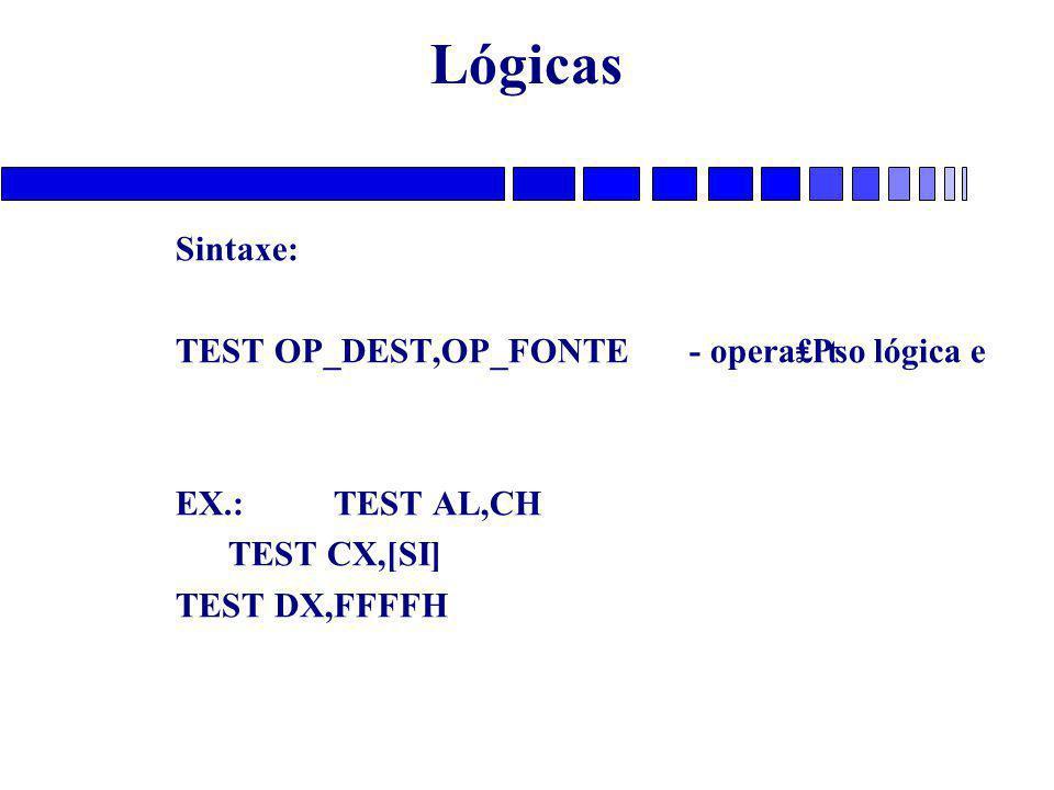 Lógicas Sintaxe: TEST OP_DEST,OP_FONTE - opera₤₧o lógica e