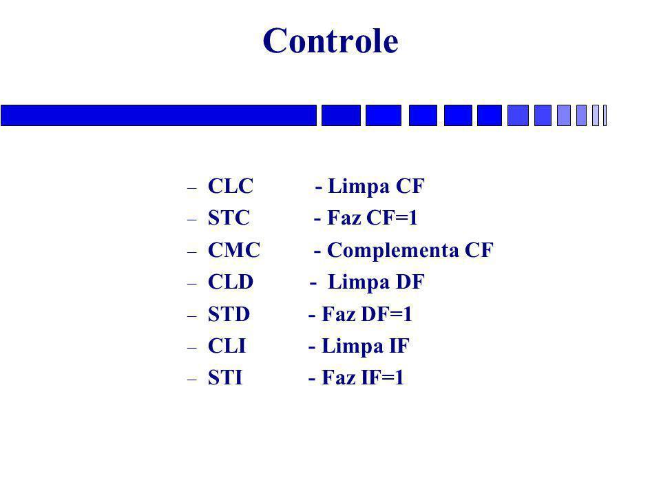 Controle CLC - Limpa CF STC - Faz CF=1 CMC - Complementa CF