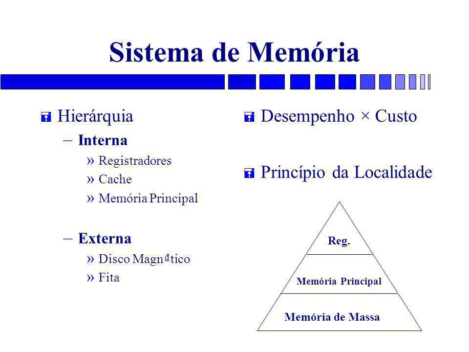 Sistema de Memória Hierárquia Desempenho × Custo