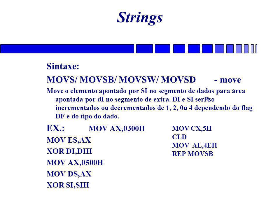 Strings Sintaxe: MOVS/ MOVSB/ MOVSW/ MOVSD - move EX.: MOV AX,0300H