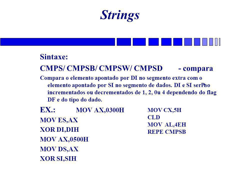 Strings Sintaxe: CMPS/ CMPSB/ CMPSW/ CMPSD - compara EX.: MOV AX,0300H