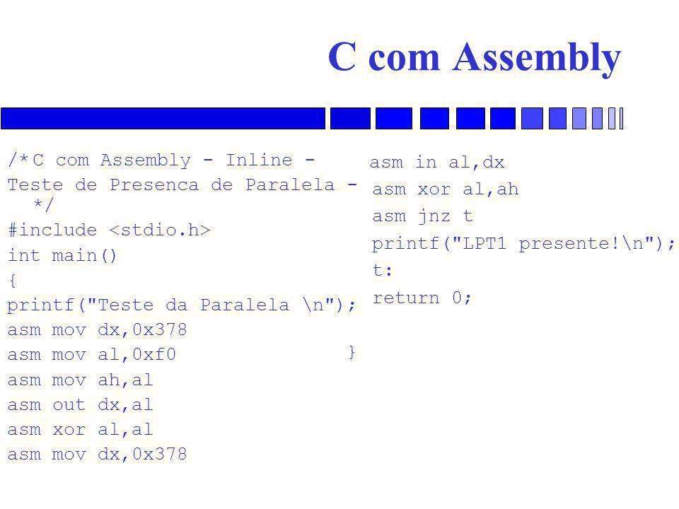 C com Assembly /* C com Assembly - Inline -