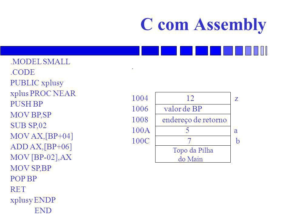 C com Assembly .MODEL SMALL .CODE . PUBLIC xplusy xplus PROC NEAR