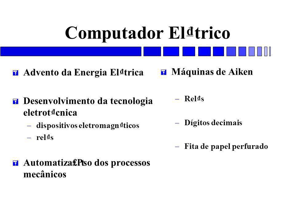 Computador El₫trico Advento da Energia El₫trica Máquinas de Aiken