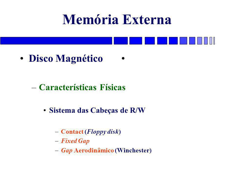 Memória Externa Disco Magnético Características Físicas