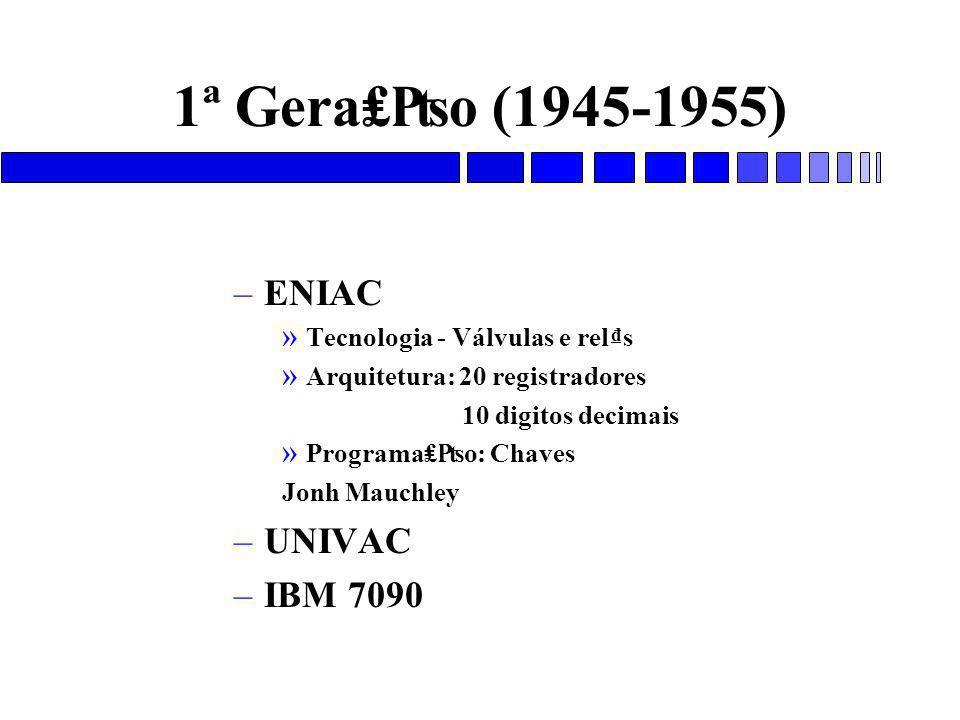 1ª Gera₤₧o (1945-1955) ENIAC UNIVAC IBM 7090