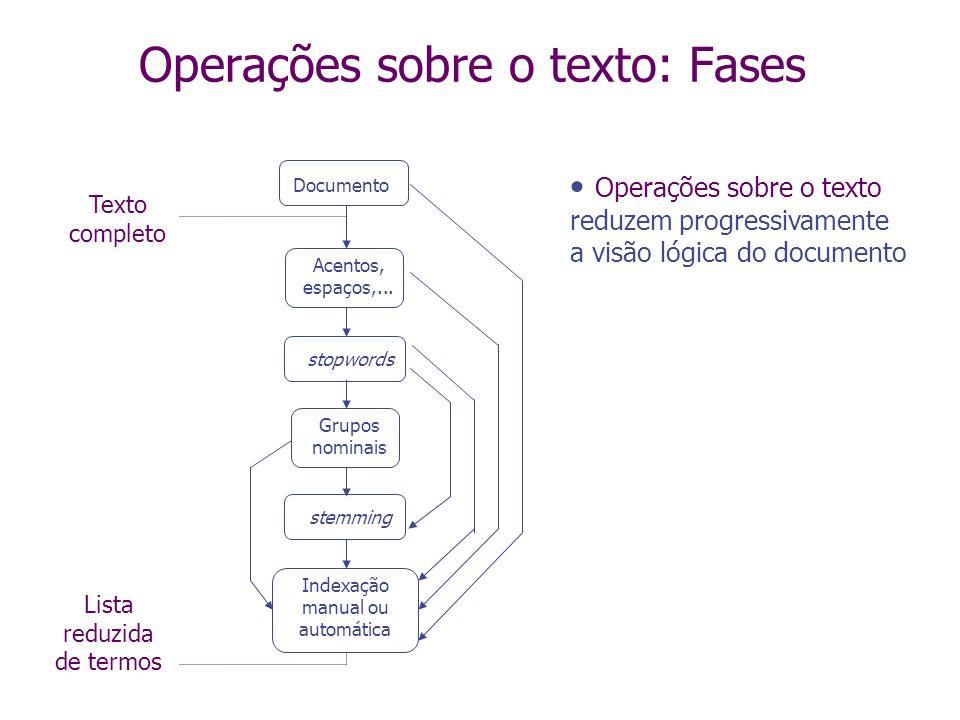 Operações sobre o texto: Fases