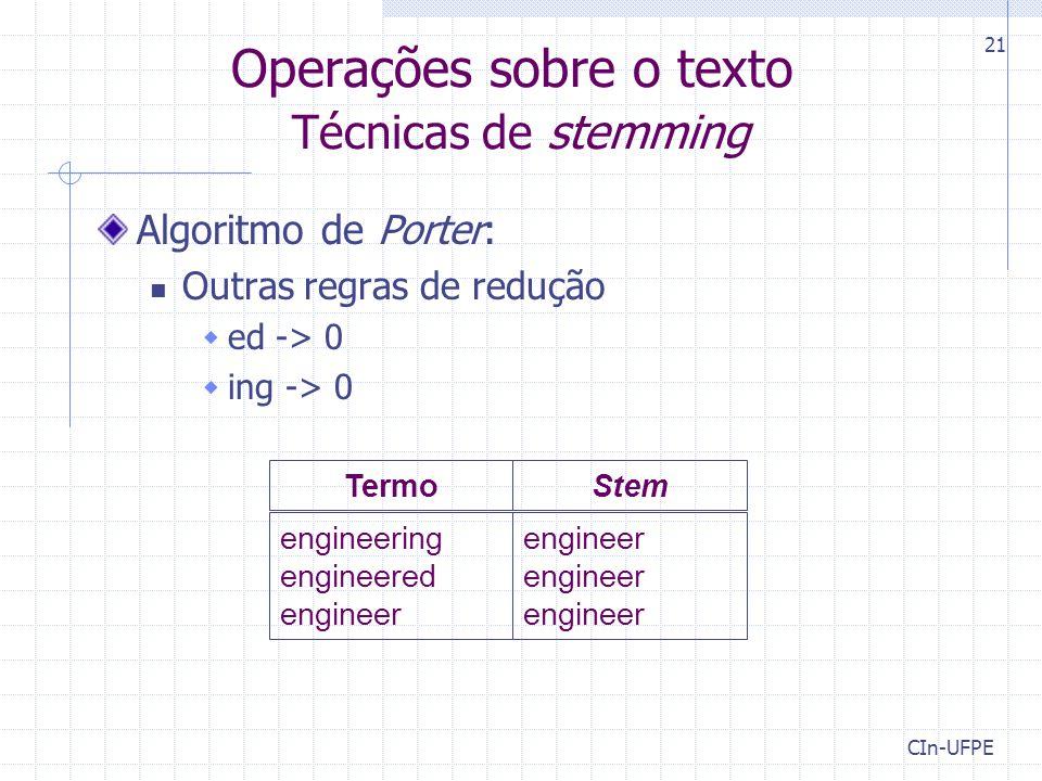 Operações sobre o texto Técnicas de stemming