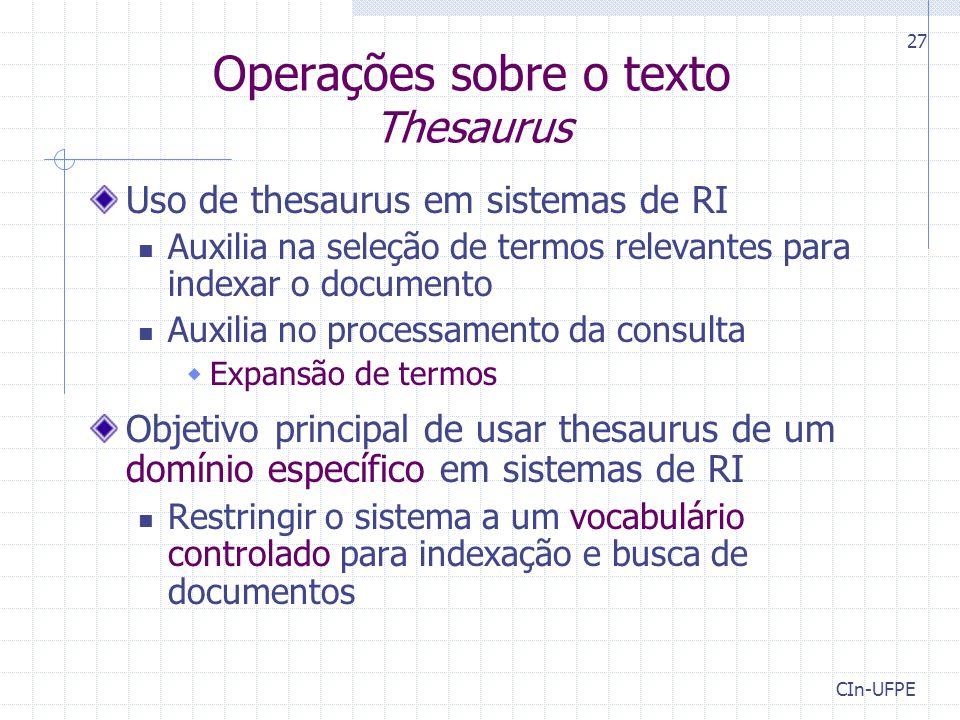 Operações sobre o texto Thesaurus