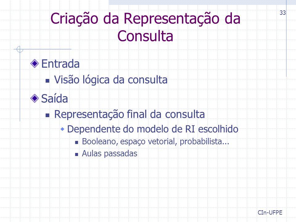 Criação da Representação da Consulta