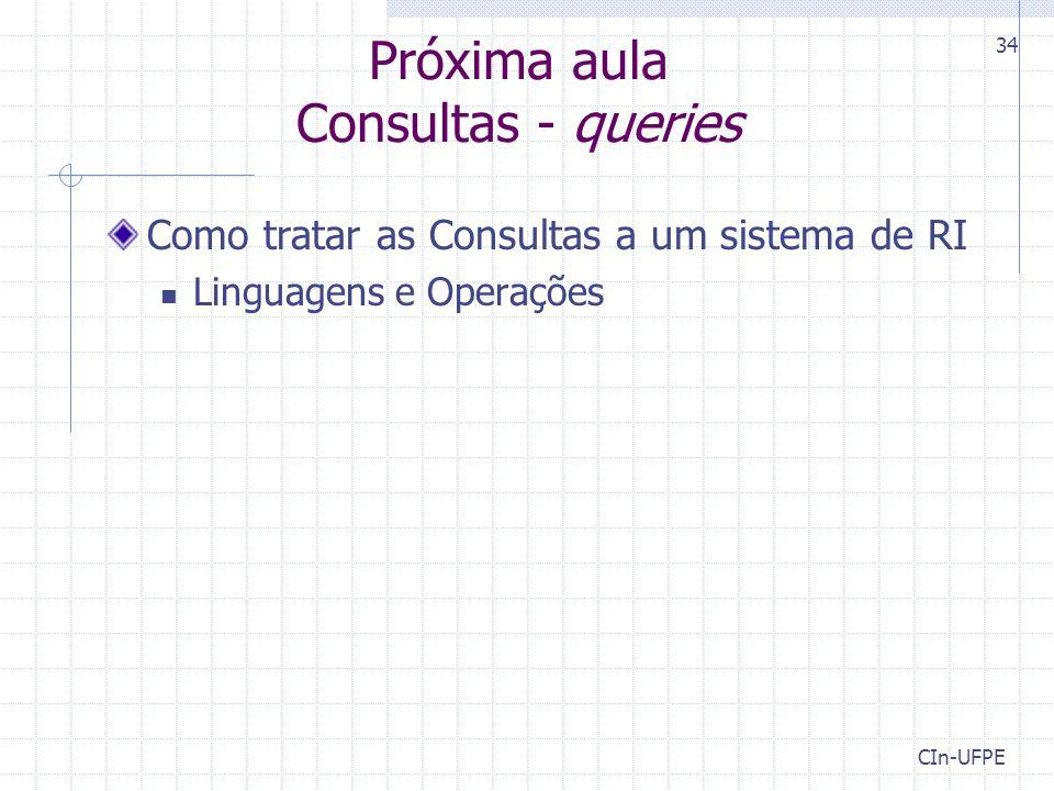 Próxima aula Consultas - queries
