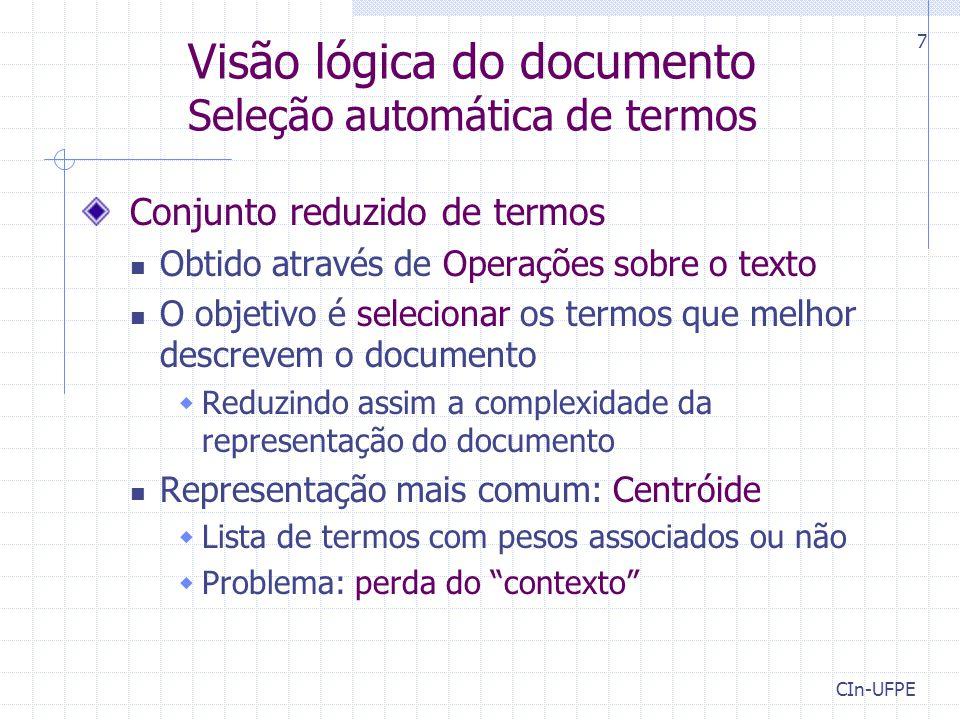 Visão lógica do documento Seleção automática de termos