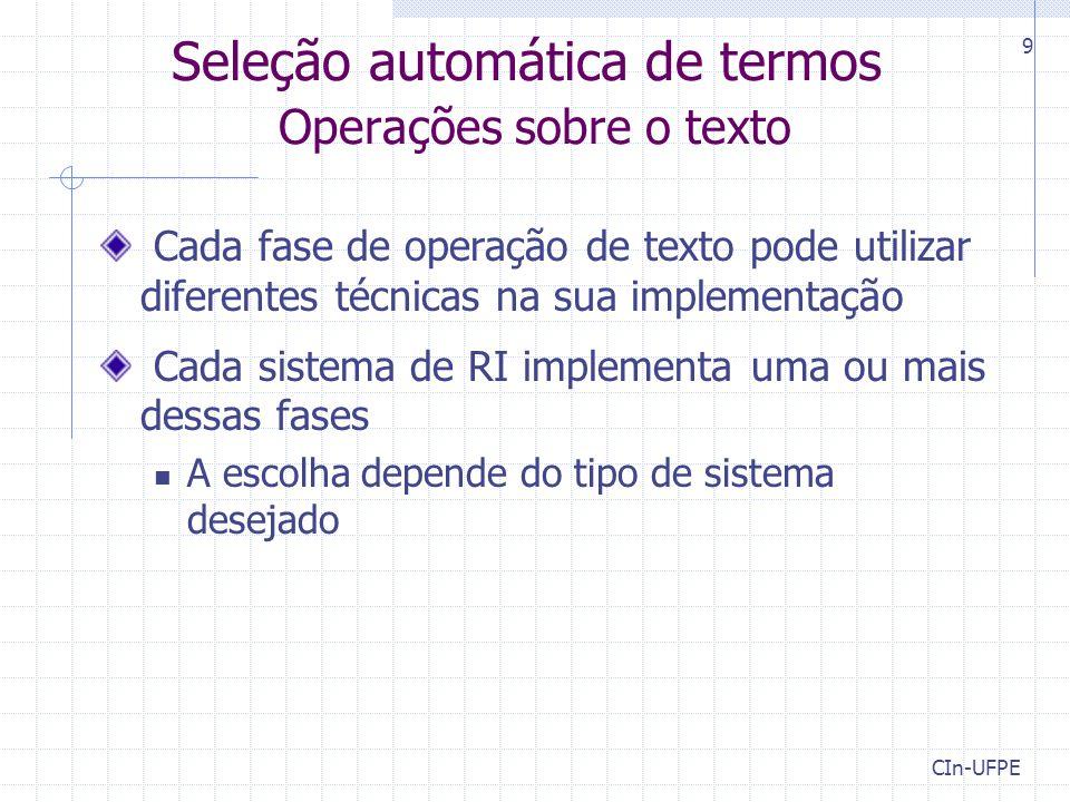 Seleção automática de termos Operações sobre o texto