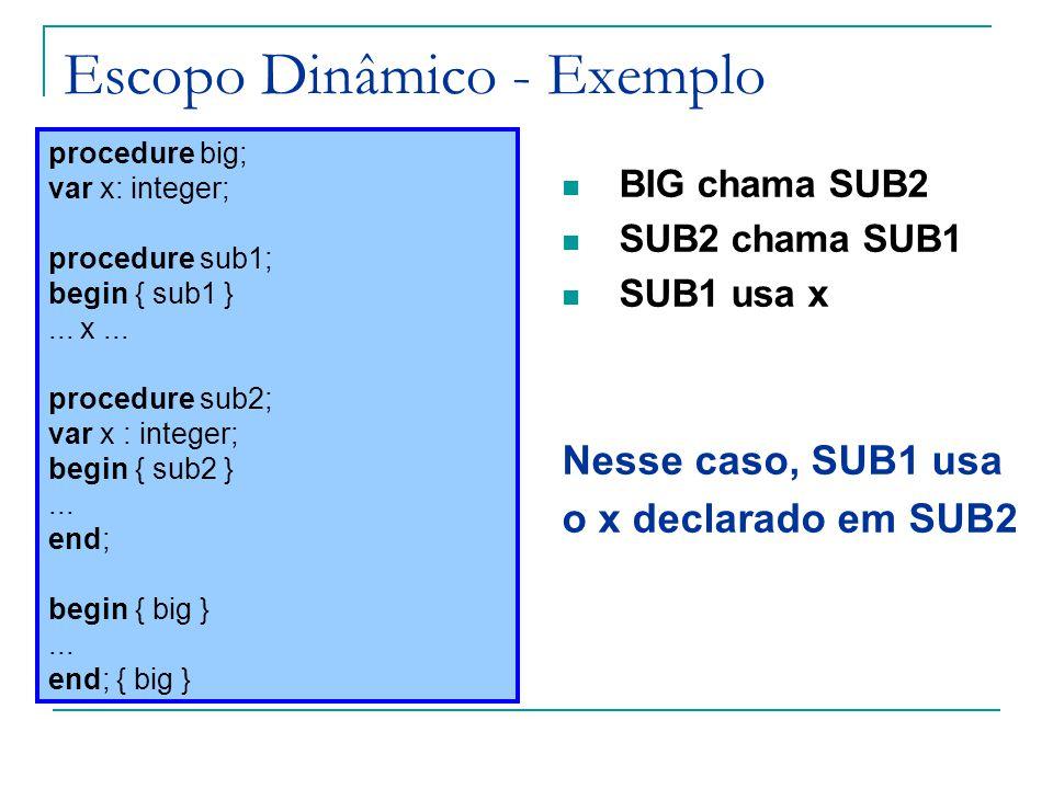 Escopo Dinâmico - Exemplo