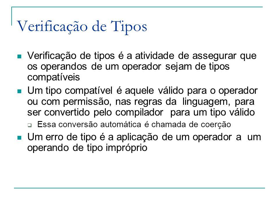 Verificação de Tipos Verificação de tipos é a atividade de assegurar que os operandos de um operador sejam de tipos compatíveis.