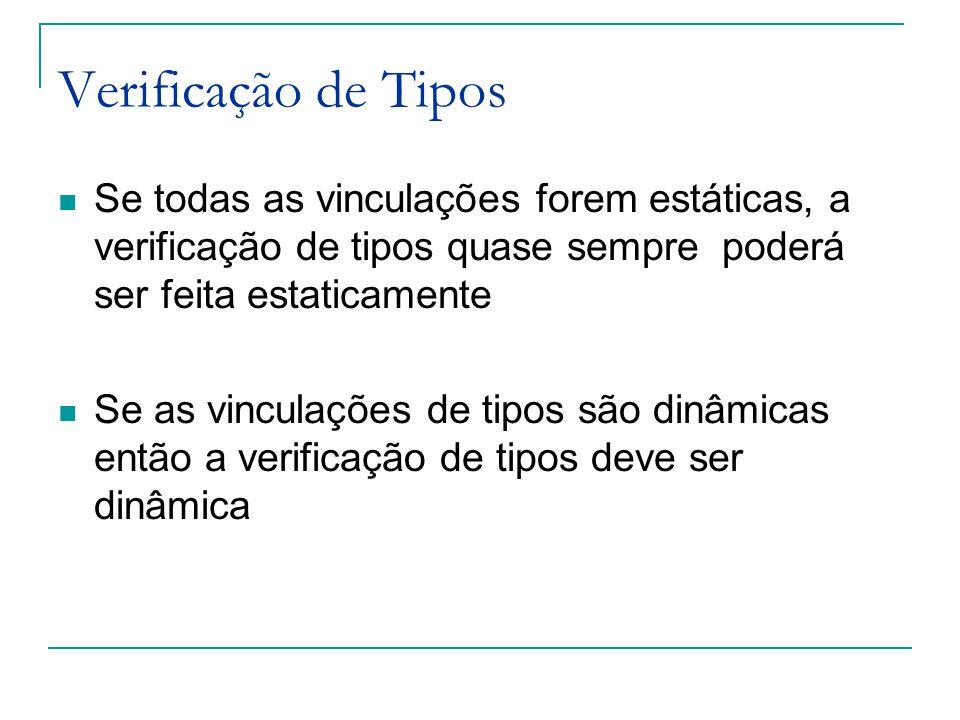 Verificação de Tipos Se todas as vinculações forem estáticas, a verificação de tipos quase sempre poderá ser feita estaticamente.