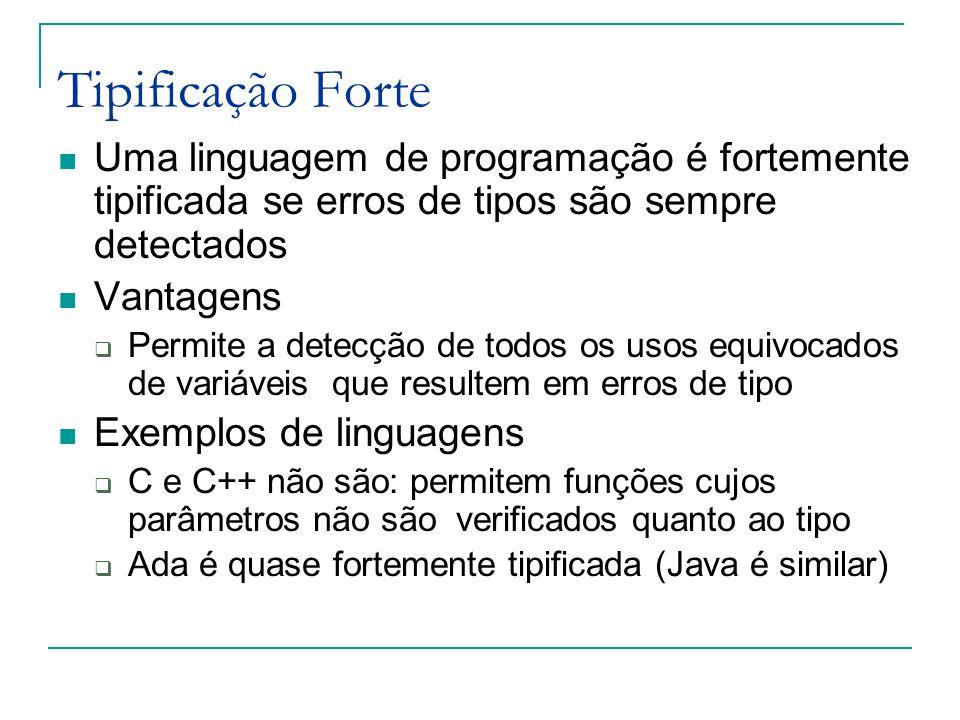 Tipificação Forte Uma linguagem de programação é fortemente tipificada se erros de tipos são sempre detectados.