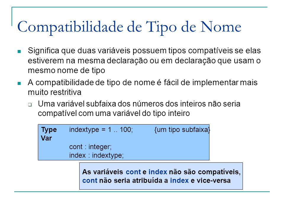 Compatibilidade de Tipo de Nome