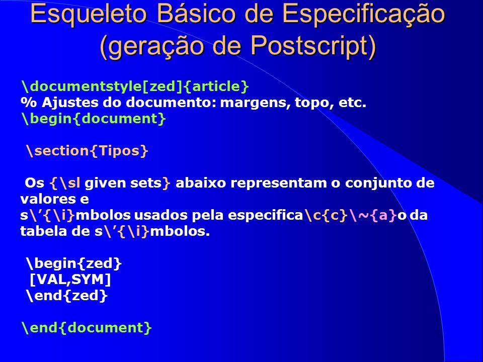 Esqueleto Básico de Especificação (geração de Postscript)