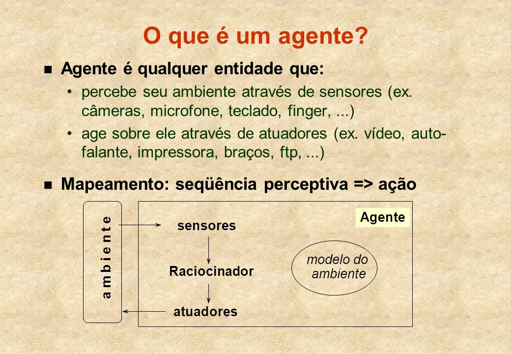 O que é um agente Agente é qualquer entidade que: