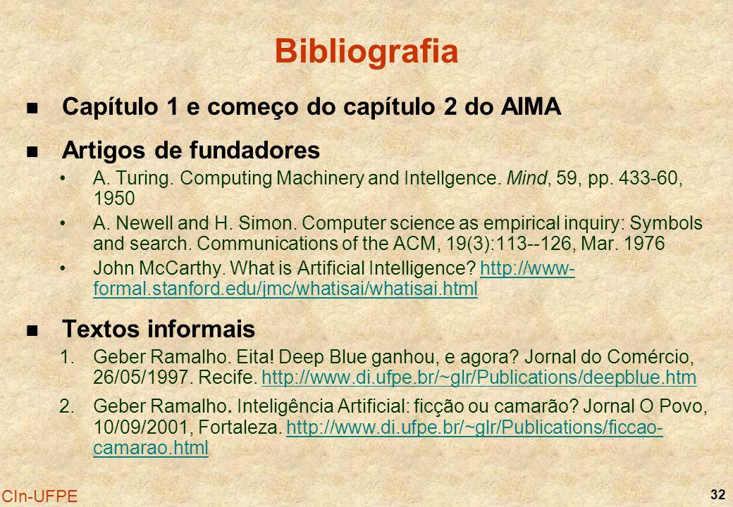 Bibliografia Capítulo 1 e começo do capítulo 2 do AIMA