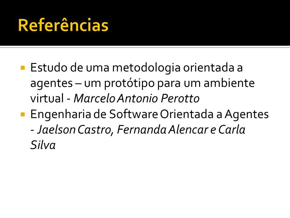 Referências Estudo de uma metodologia orientada a agentes – um protótipo para um ambiente virtual - Marcelo Antonio Perotto.