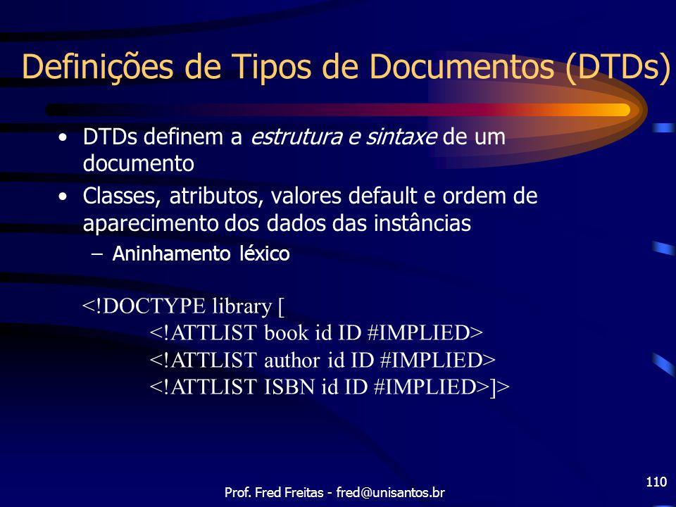Definições de Tipos de Documentos (DTDs)