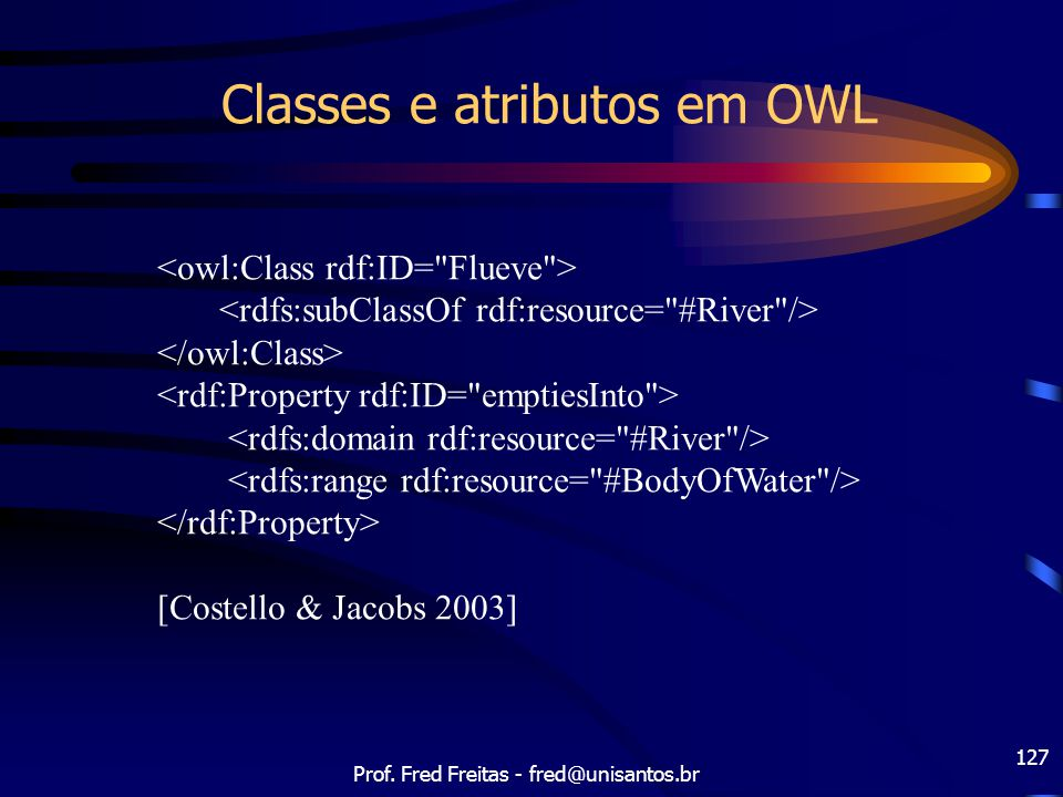 Classes e atributos em OWL