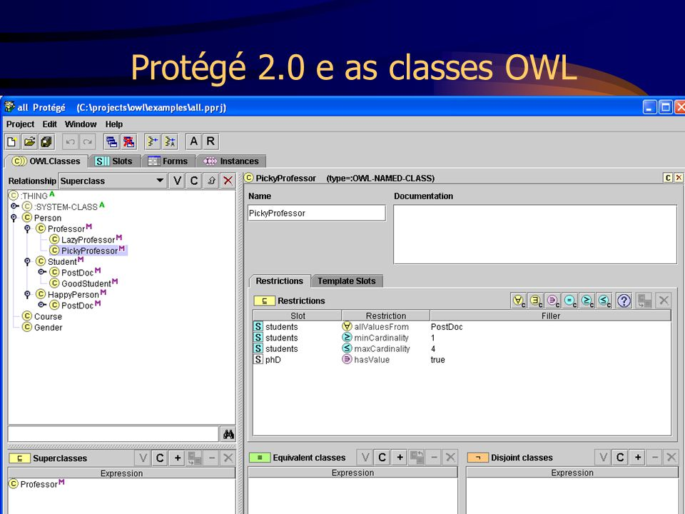 Protégé 2.0 e as classes OWL