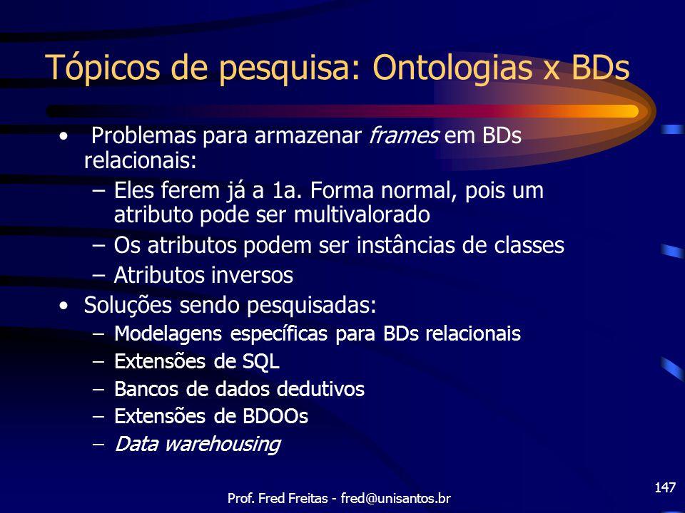 Tópicos de pesquisa: Ontologias x BDs